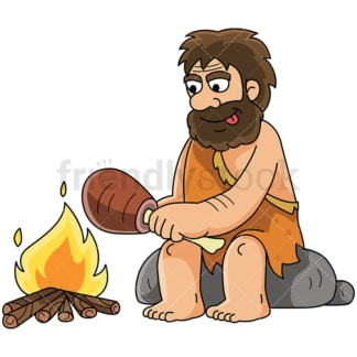Caveman cooking meat by the fire - Image isolated on white background. Transparent PNG and vector (infinitely scalable) EPS