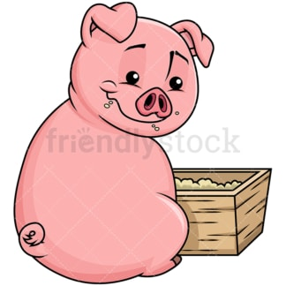 Cute pig eating corn in the farm - Image isolated on transparent background. PNG