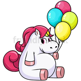 Cute unicorn holding balloons. PNG - JPG and vector EPS file formats (infinitely scalable). Image isolated on transparent background.