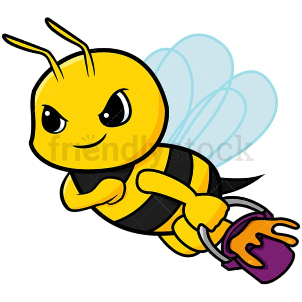 Cute worker bee carrying honey - Image isolated on white background. Transparent PNG and vector (infinitely scalable) EPS