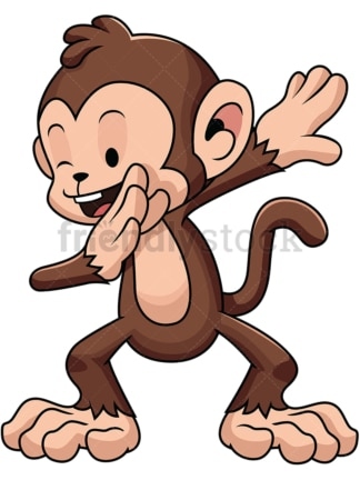 Dabbing monkey - Image isolated on white background. Transparent PNG and vector (infinitely scalable) EPS