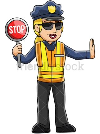 Female police officer holding stop sign - Image isolated on transparent background. PNG