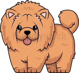 Furry chow chow with tongue hanging out. PNG - JPG and vector EPS (infinitely scalable).