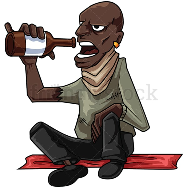 Homeless black man drinking alcohol. PNG - JPG and vector EPS file formats (infinitely scalable). Image isolated on transparent background.