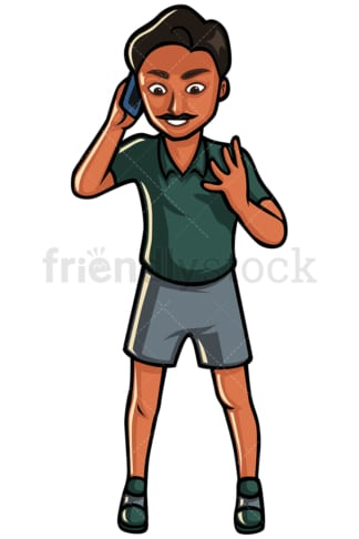 Indian man making a call - Image isolated on white background. Transparent PNG and vector (infinitely scalable) EPS