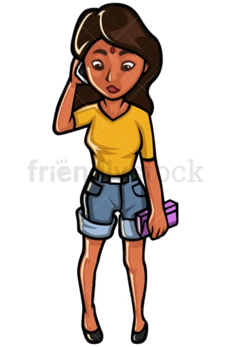 Indian woman talking on mobile phone - Image isolated on white background. Transparent PNG and vector (infinitely scalable) EPS
