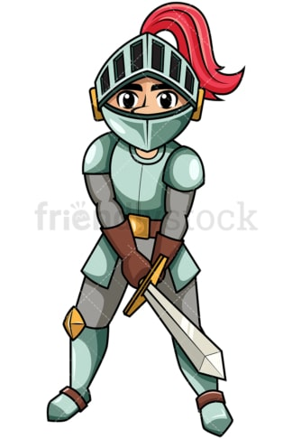 Knight attacking with sword. PNG - JPG and vector EPS file formats (infinitely scalable). Image isolated on transparent background.