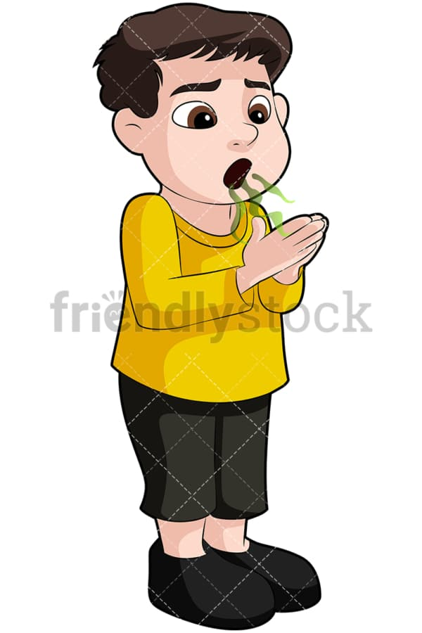 Little boy exhaling a bad breath - Image isolated on transparent background. PNG