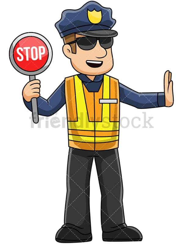 Male police officer holding stop sign - Image isolated on transparent background. PNG