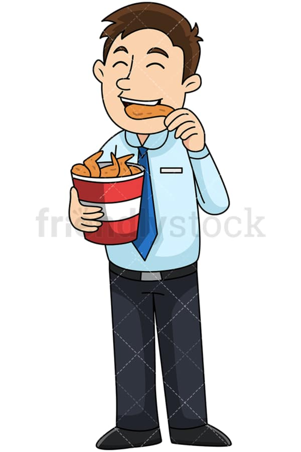 Man eating chicken wings from bucket - Image isolated on transparent background. PNG