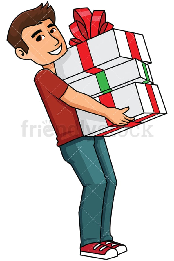 Man holding a bunch of presents - Image isolated on transparent background. PNG