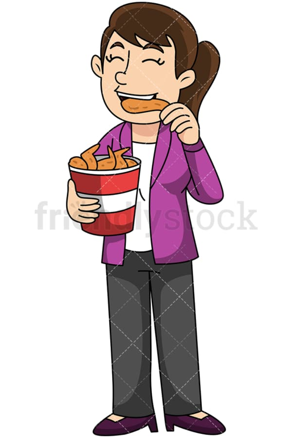 Woman eating chicken wings - Image isolated on transparent background. PNG