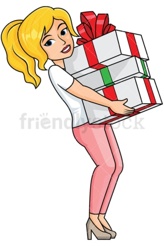 Woman holding presents in her lap - Image isolated on transparent background. PNG