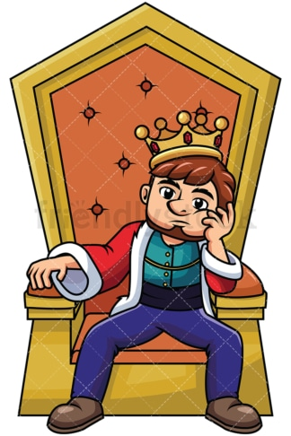 Young king sitting on throne thinking - Image isolated on transparent background. PNG