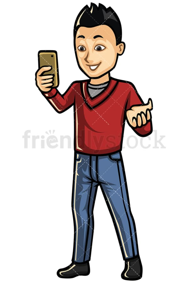 Asian man video calling with cellphone - Image isolated on white background. Transparent PNG and vector (infinitely scalable) EPS