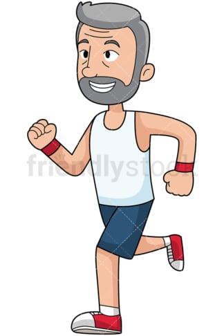Bearded mature man running marathon - Image isolated on transparent background. PNG