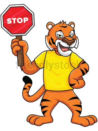 Bengal tiger mascot holding stop sign - Image isolated on white background. Transparent PNG and vector (infinitely scalable) EPS