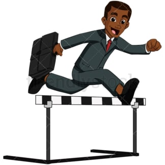 Black business man jumping over hurdle - Image isolated on transparent background. PNG