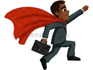 Black business man superhero - Image isolated on transparent background. PNG