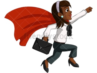 Black business woman super heroine - Image isolated on transparent background. PNG