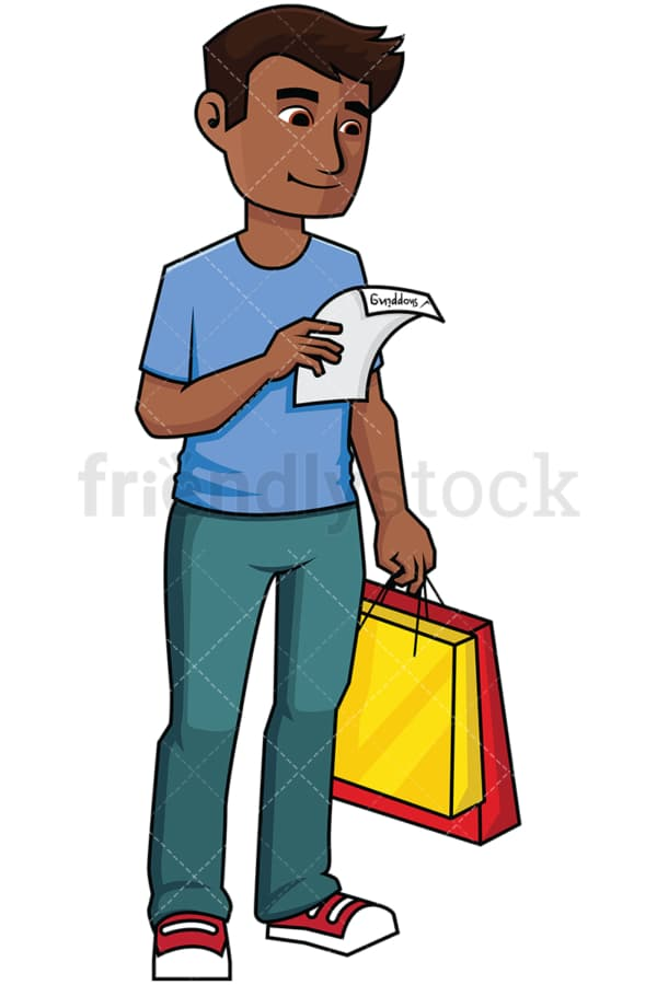 Black man holding a shopping list - Image isolated on transparent background. PNG