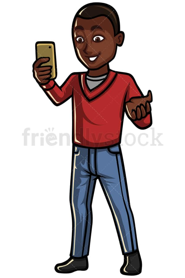 Black man video calling with cellphone - Image isolated on white background. Transparent PNG and vector (infinitely scalable) EPS