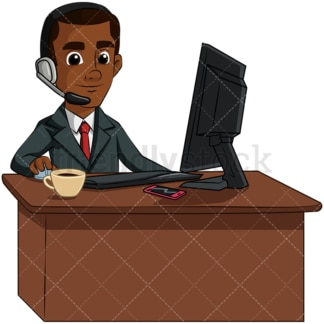 Black man working customer service - Image isolated on transparent background. PNG