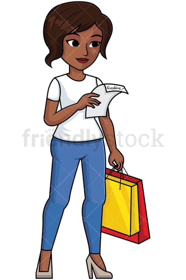 Black woman reading shopping list - Image isolated on transparent background. PNG