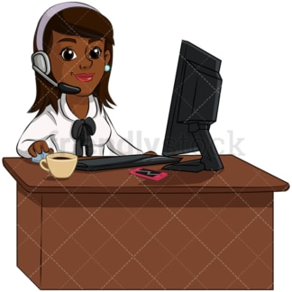 Black woman customer support - Image isolated on transparent background. PNG
