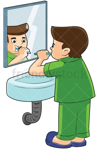 Boy brushing teeth in front of a mirror - Image isolated on transparent background. PNG