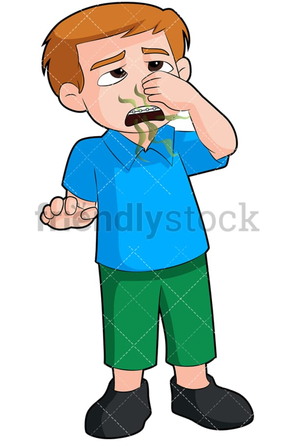 Boy with bad breath closing nose - Image isolated on transparent background. PNG