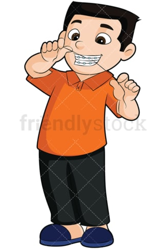 Boy with braces flossing his teeth - Image isolated on transparent background. PNG