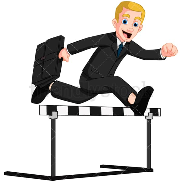 Business man overcoming obstacle - Image isolated on transparent background. PNG