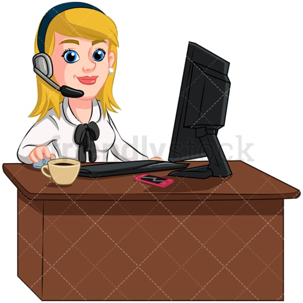 Woman at desk wearing headphones - Image isolated on transparent background. PNG