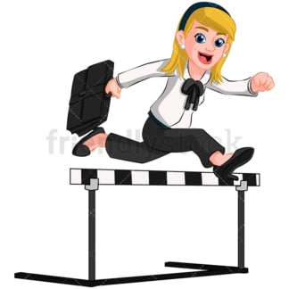 Business woman jumping over hurdle - Image isolated on transparent background. PNG