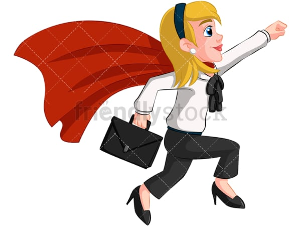 Business woman super heroine - Image isolated on transparent background. PNG