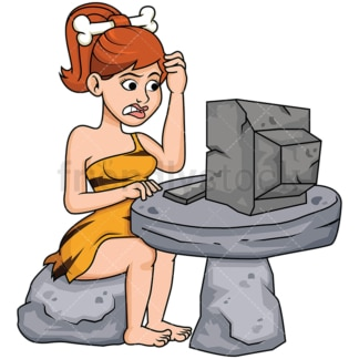 Cave woman using stone age computer - Image isolated on transparent background. PNG