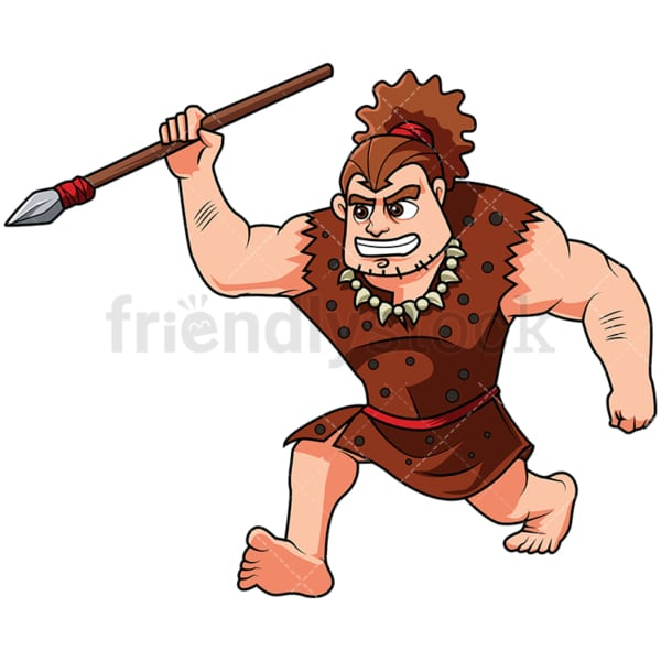 Caveman Hunting With A Spear - Image isolated on white background. Transparent PNG and vector (infinitely scalable) EPS