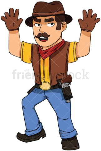 Cowboy surrendering by raising up hands - Image isolated on white background. Transparent PNG and vector (infinitely scalable) EPS