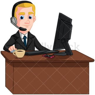 Customer service man with headphones - Image isolated on transparent background. PNG