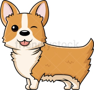 Cute corgi dog winking. PNG - JPG and vector EPS (infinitely scalable).