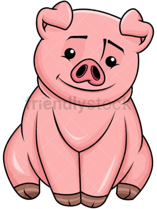 Cute pig smiling - Image isolated on transparent background. PNG