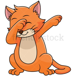 Dabbing cat - Image isolated on white background. Transparent PNG and vector (infinitely scalable) EPS