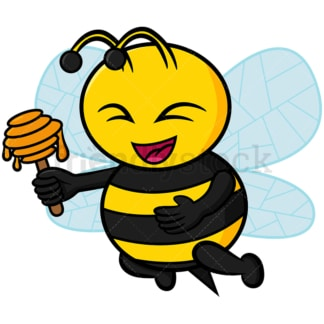 Happy bee holding a honey dipper - Image isolated on white background. Transparent PNG and vector (infinitely scalable) EPS