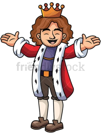 Happy king with open arms - Image isolated on transparent background. PNG
