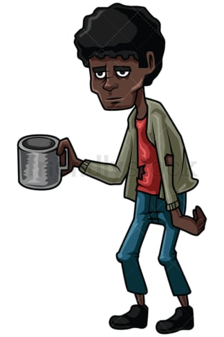 Homeless black man begging for money. PNG - JPG and vector EPS file formats (infinitely scalable). Image isolated on transparent background.