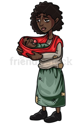 Homeless black woman with baby. PNG - JPG and vector EPS file formats (infinitely scalable). Image isolated on transparent background.