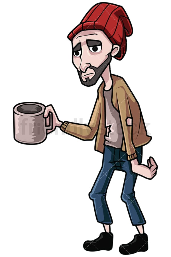 Homeless man begging for money. PNG - JPG and vector EPS file formats (infinitely scalable). Image isolated on transparent background.