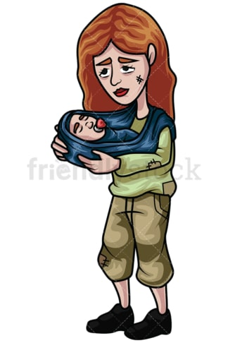 Homeless woman holding baby. PNG - JPG and vector EPS file formats (infinitely scalable). Image isolated on transparent background.