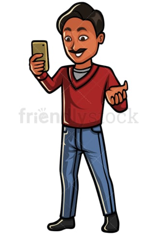 Indian man video calling with cellphone - Image isolated on white background. Transparent PNG and vector (infinitely scalable) EPS